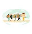 cartoon characters hiking people backpacking vector image