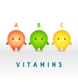Cartoon characters Vitamin pills for healthy vector image vector image
