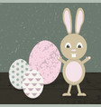cartoon rabbit in easter vector image