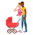 cartoon smiling couple walking with baby in vector image vector image