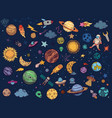 color space doodle astrology planets colorful vector image