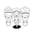 dotted sticker the three wise men with jesus baby vector image
