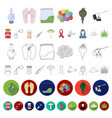 drug addiction and attributes cartoon icons in set vector image vector image