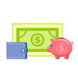 finance object piggy bank cash and dollar vector image