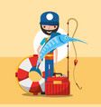 fisherman fishing cartoon vector image vector image