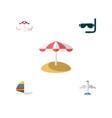flat icon beach set of parasol scuba diving vector image vector image