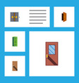 flat icon door set of frame entry door and other vector image vector image