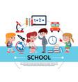 flat school concept vector image vector image