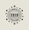 forest fest 2019 geometric pattern label or badge vector image