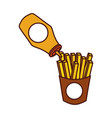 french fries with ketchup fast food fresh vector image