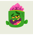 funny zombie head cartoon character vector image vector image