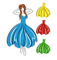 Girl in blue dress and set of gowns vector image vector image
