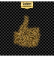 Gold glitter icon of thumbs up isolated on vector image