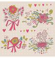 hand drawn flower bouquet set retro flowers vector image