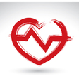 Hand drawn red heart icon brush drawing heart sign vector image