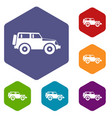 jeep icons set vector image vector image
