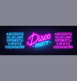 neon text disco party on brick wall background vector image