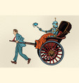 people rickshaw ride robot vector image