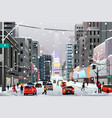 people walking in the city during winter storm vector image vector image
