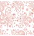 Pink floral ornate pattern on white background vector image vector image