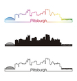 Pittsburgh skyline linear style with rainbow vector image vector image