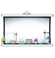 projector screen with laboratory equipment vector image