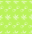 seamless pattern with cannabis leaves and handcuff vector image vector image