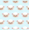 seamless pattern with cute sheep on blue vector image