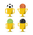 set flat icon ball and trophy sport vector image vector image
