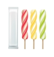 Set of Popsicle Lollipop on Stick with Foil vector image vector image