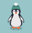 smiling penguin with green hat cartoon vector image vector image