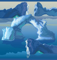 the composition of the sea of icebergs and ice vector image