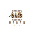 urban beer design template with cask and buildings vector image