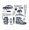 vintage hand drawn adventure symbols hiking vector image vector image
