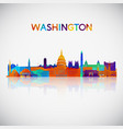 washington skyline silhouette in colorful vector image vector image