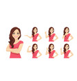 woman different gestures vector image vector image