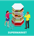 women and men shopping alcohol in supermarket vector image