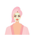 women with towel and face mask vector image