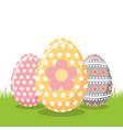 decorate floral easter eggs on field vector image