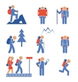 Set of colored hiking icons vector image