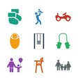9 kid icons vector image vector image