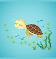 a cute cartoon sea turtle vector image