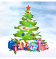 beautiful christmas tree presents on snow over vector image vector image
