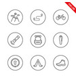camping universal icons set thin line vector image