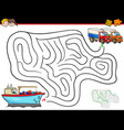 cartoon maze activity with ship and trucks vector image vector image