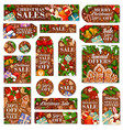 christmas sale tag and new year discount label vector image