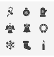 Christmas silhouette icons collection vector image vector image