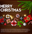 christmas wooden background with gift box vector image vector image