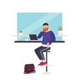 cute smiling bearded man sitting at cafe working vector image