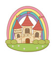 fairytale castle with rainbow in the field scene vector image vector image
